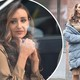 Catherine Tyldesley covers her beige dress with a padded coat while filming new drama Viewpoint